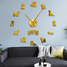 West Highland White Terrier DIY bezramowe gigantyczny cichy ścienny zegar lustrzany efekt akryl Wall Art dla zwierząt domowych kocham moją Westie wystrój tanie tanio Akrylowe Salon Streszczenie Igła Antique Style Zegary ścienne Pojedyncze twarzy Oddziela circular Krótkie QUARTZ DIY Large Wall Clock