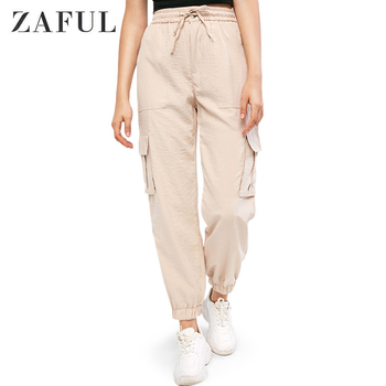 ZAFUL Flap Pockets High Waisted Jogger Pants For Women Solid Color Drawstring Front Flat Zipper Fly Female Pants фото