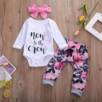 2020 Autumn Newborn Baby Girls Set Letter Printed Long Sleeve Bodysuit+Floral Long Pants+Headband Infant Clothing Outfits D30 chivry 4pcs cute infant baby girls boys unicorn clothing long sleeve bodysuit top pants headband hat girl outfits clothes set