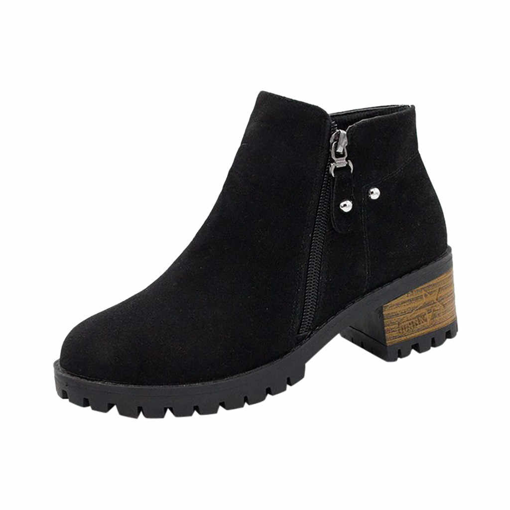 Grosso Tacchi Alti Stivali di Modo Delle Donne casual Puro di Colore Punta Rotonda Stivali Con Zip Alla Caviglia Delle Donne Dell'annata Scarpe zapatos de mujer