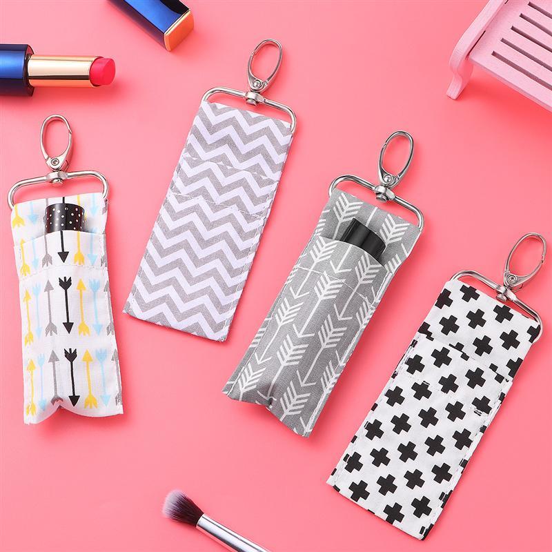 4PCS Women Lipstick Holder Keychain Lip Balm Pouch Strap Arrow Wave Pattern Key Ring Bags