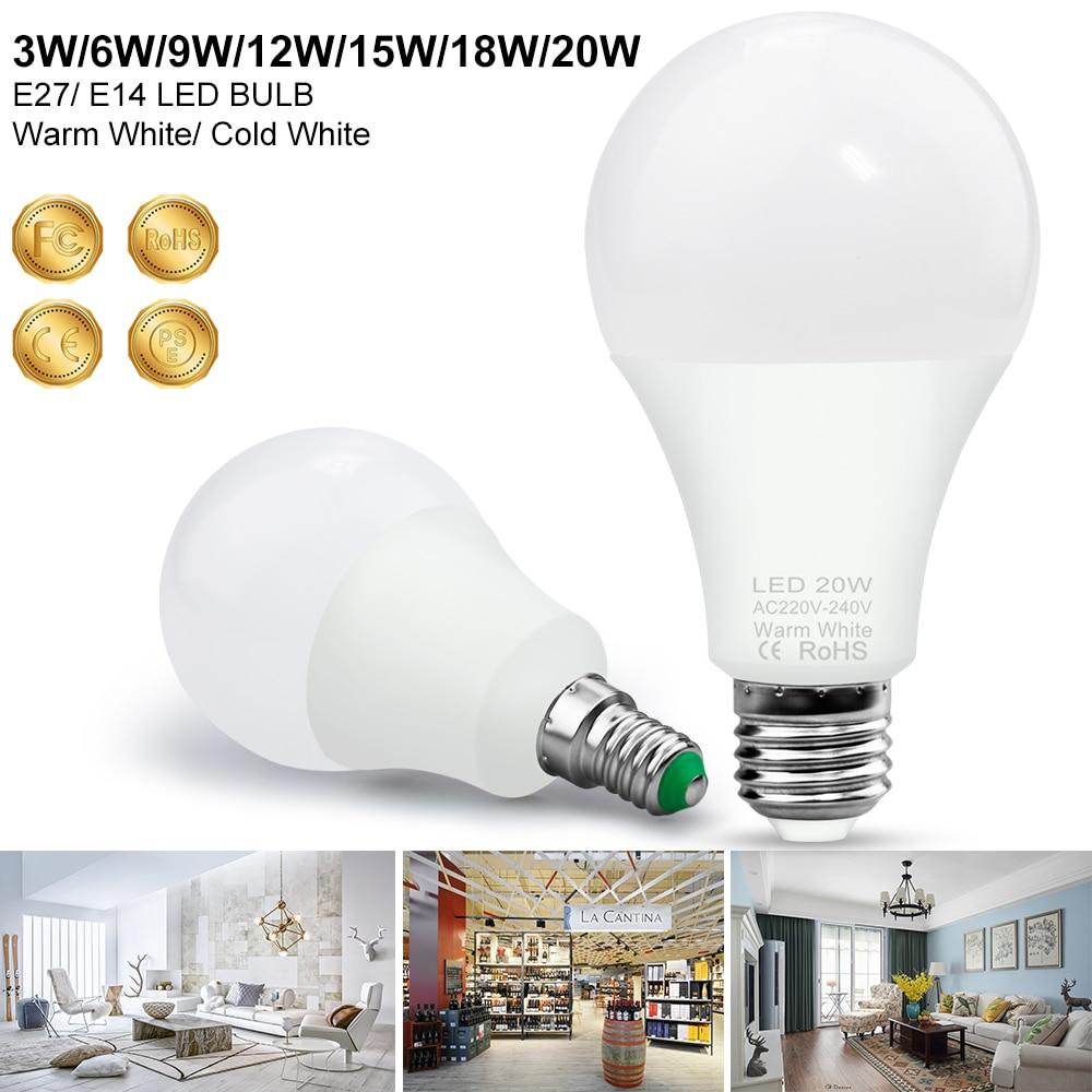 E27 LED Lamp 220V LED Bulb E14 Spotlight 3W 6W 9W 12W 15W 18W 20W Bombillas LED Light 240V Ampoule Energy Saving Lighting 2835