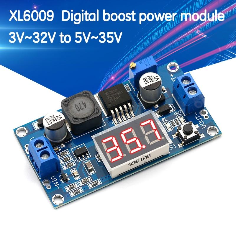 DC-DC XL6009 цифровой повышающий Питание Модуль Регулируемый 4,5-32V постоянного тока до 5-52 повышающий Напряжение регулятор с светодиодный вольтме...