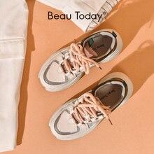 BeauToday Chunky Sneakers kobiety oryginalna skóra bydlęca wiązane krzyżowo Retro platforma klinowe modne buty mieszane kolory Handmade 29324