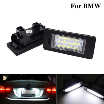 2 pcs White Car LED License Plate Lights Number Plate lights Tail Lamp Car Accessorie For BMW E90 M3 E92 E70 E39 F30 E60 E61 E93 image