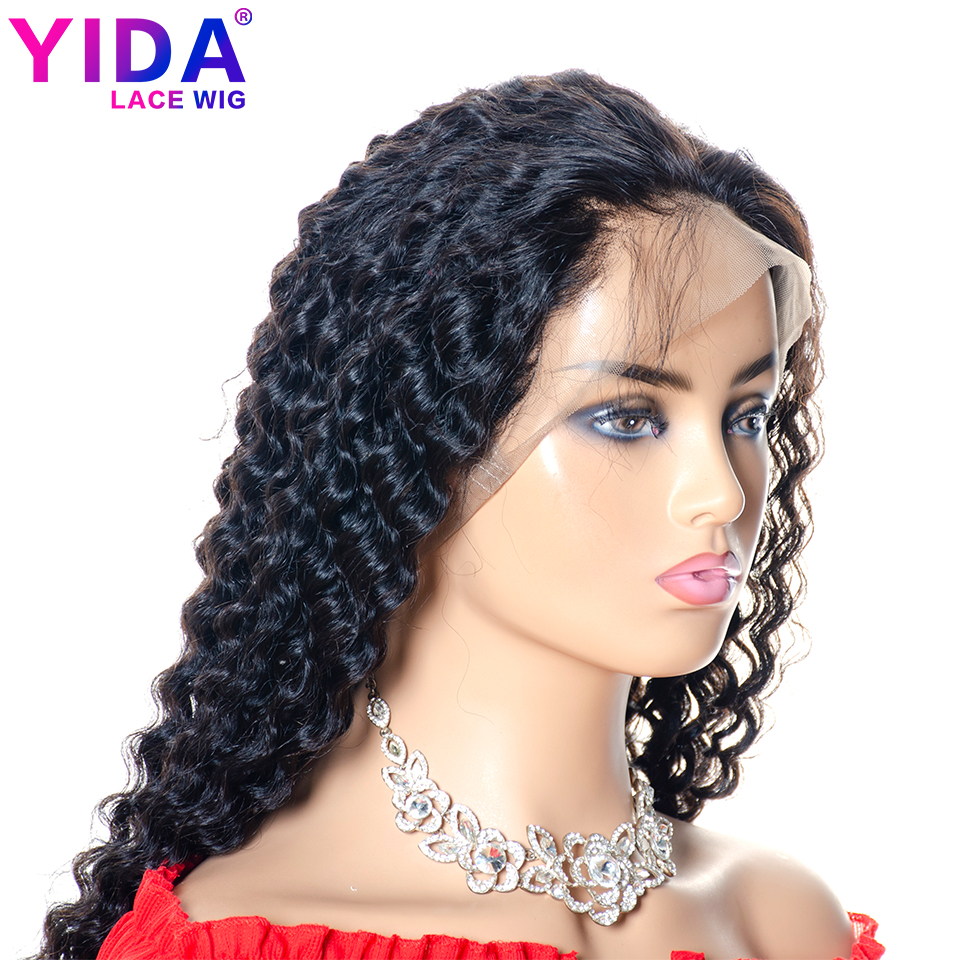 Brazilian Deep Wave Human Hair Wigs 360 Lace Frontal Wig With Baby Hair Pre-Plucked Natural Black For Women Remy Yida Wig