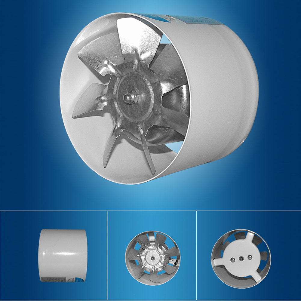 Wall Dusted Exhaust Fan Home Ventilation Booster Bathroom Kitchen Air Vent Inline Cooling Easy Install Blower Round Pipe 4inch