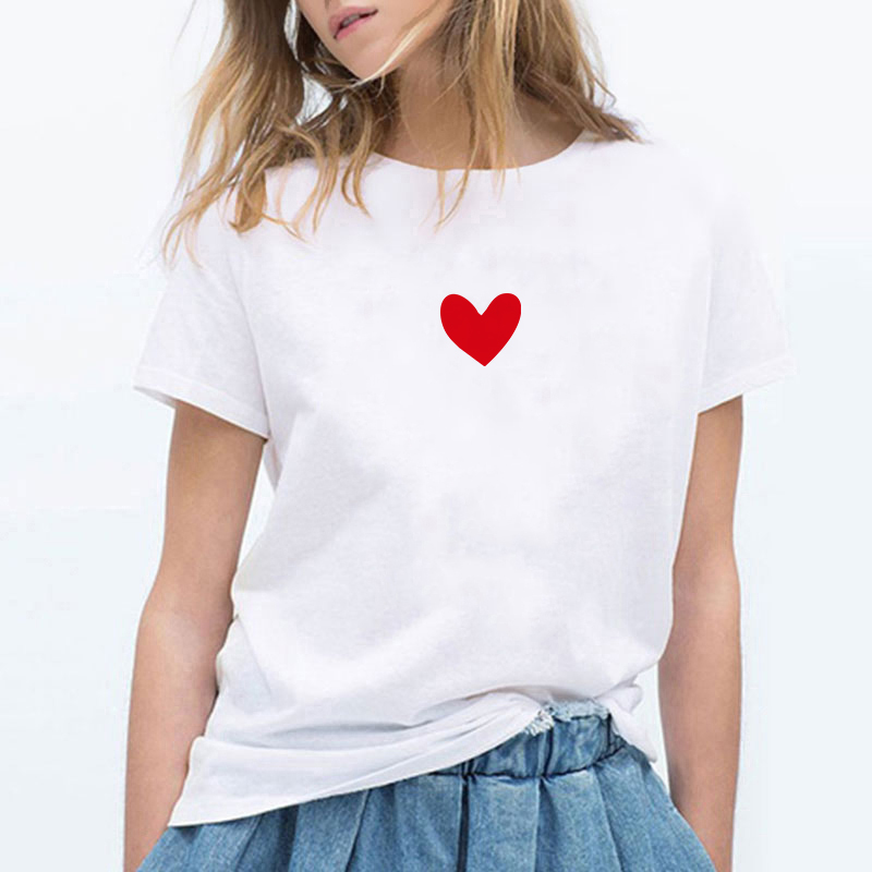 Lei SAGLY South Korea Ulzzang Heart Printed T-shirt WOMEN'S Short Sleeved Korean-style Summer Students Simple Versatile
