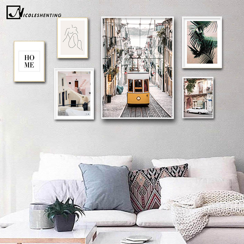 Yellow Bus Old Street House Vintage Poster City Landscape Nordic Art Canvas Print Painting Wall Picture Modern Home Decoration