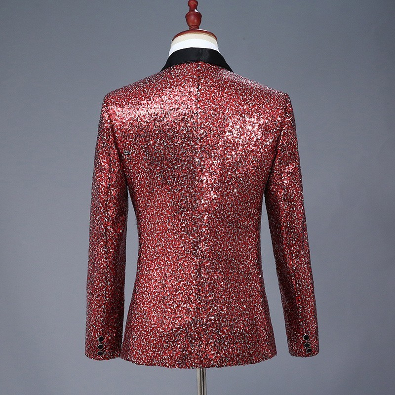 High Quality Harajuku Performance Men Stage Coat Lapel Blue Red Sequins Blazer Slim Fit Suit Jacket Nightclub Fashion Outerwear