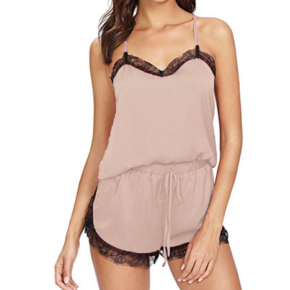 Women's Sleepwear Sexy Satin Silk Pajama Set Sleeveless Strap Nightwear Lace Trim Satin Cami Top Pyjamas Lace Up Babydoll Shorts