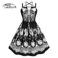 Imily Halloween A-line Kleid Frauen Gothic Schädel Skeleton Drucken Spaghetti Liebsten Hohe Taille Halfter Kleider Mode Vestidos