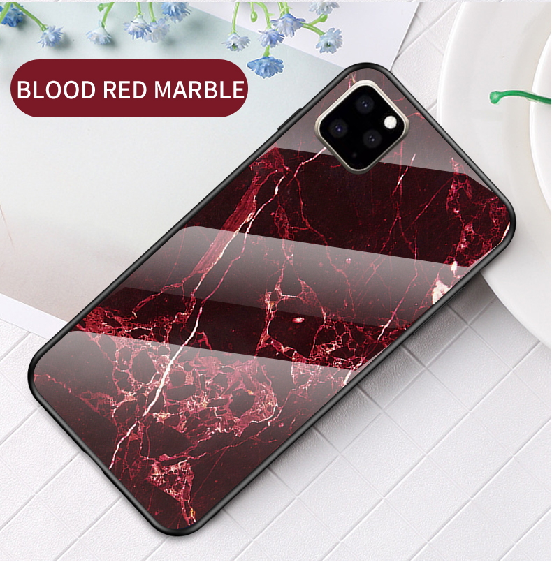 KEYSION Marble Tempered Glass Case for iPhone 11/11 Pro/11 Pro Max 13
