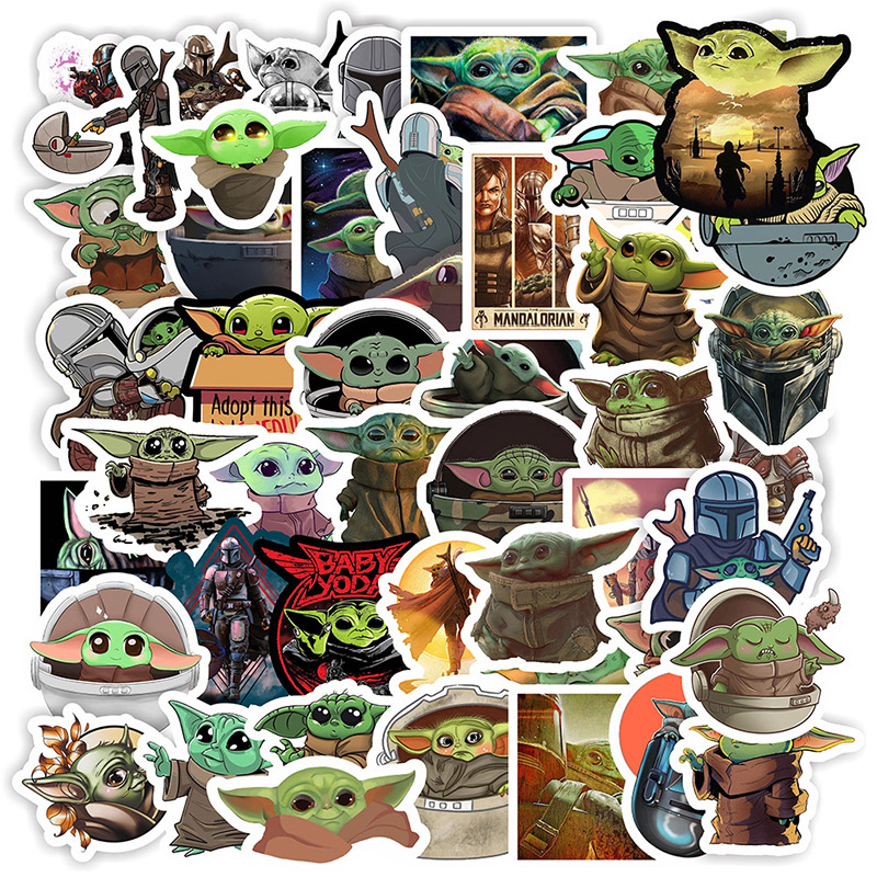 50PCS New 3 Style Star Wars The Mandalorian Baby Yoda Sticker Child For Toy DIY Kid Decal Luggage Skateboard Stickers