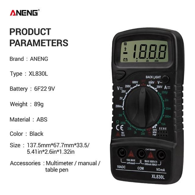 ANENG XL830L Digital Multimeter Esr Meter Testers Automotive Electrical Dmm Transistor Peak Tester Meter Capacitance Meter 5