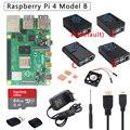 Оригинальный Raspberry Pi 4 Модель B комплект + ABS чехол + источник питания + вентилятор + радиатор + HDMI опционально 64 32 Гб SD карта и считыватель для Pi 4