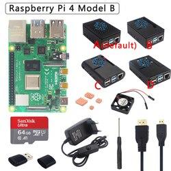 Kit Original Raspberry Pi 4 Modelo B + funda ABS + fuente de alimentación + ventilador + disipador de calor + HDMI opcional tarjeta SD de 64 32GB y lector para Pi 4
