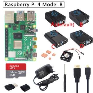 Original Raspberry Pi 4 Model B Kit + ABS Case + Power Supply + Fan + Heatsink +HDMI Optional 64 32GB SD Card & Reader for Pi 4