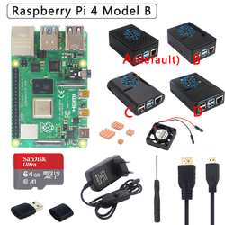Originele Raspberry Pi 4 Model B Kit + Abs Case + Voeding + Fan + Heatsink + Hdmi Optioneel 64 32 Gb Sd-kaart & Reader Voor Pi 4