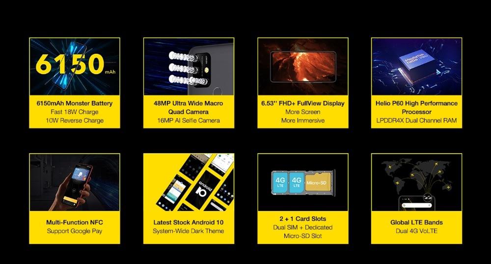 "H6799670f5b7f4defb6669a600c742a9aM UMIDIGI Power 3 Android 10 48MP Quad AI Camera 6150mAh 6.53"" FHD+ 4GB 64GB Helio P60 Global Version Smartphone NFC Pre-sale"