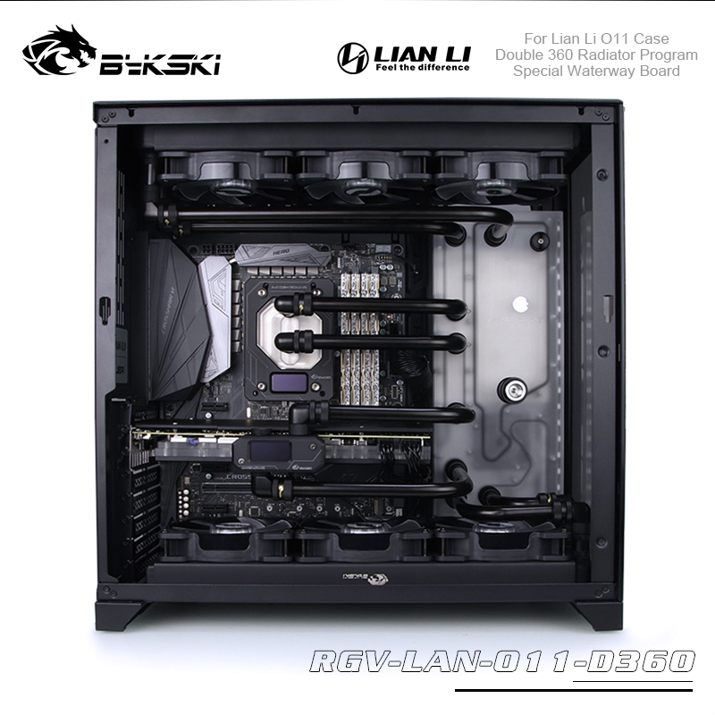 Bykski Distro Plate Program Kit For Lian Li O11 Case Waterway Board With Double 360 Radiator Cpu / Gpu Block Water Cooling Kit