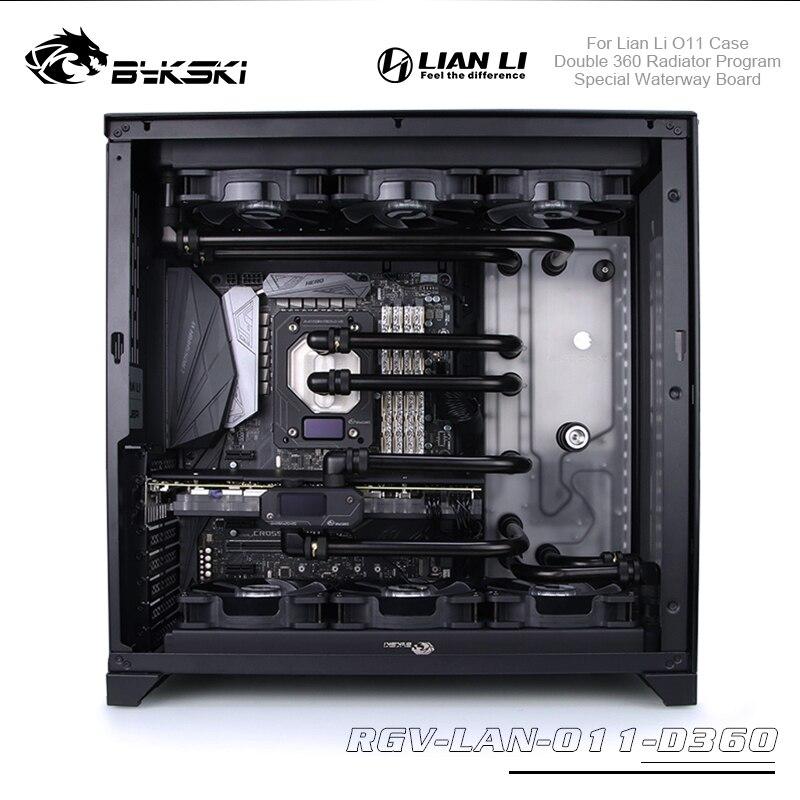 Bykski Distro Plate Program Kit For Lian Li O11 Case Waterway Board With Double 360 Radiator Cpu / Gpu Block Water Cooling Kit