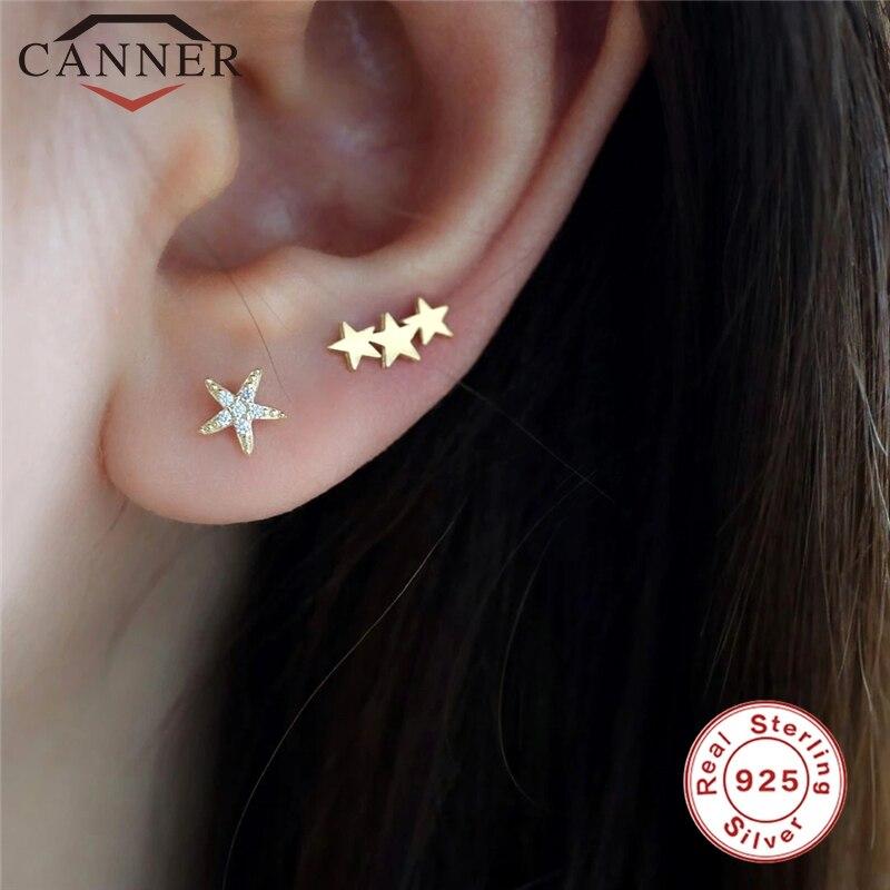 1 PC Simple Minimalist Geometric Zircon Stud Earrings for Women 925 Sterling Silver Cute Small Stud Earings Piercing Jewelry
