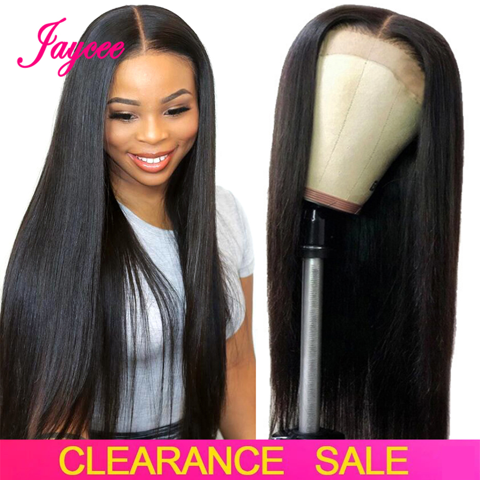 Jaycee Cheap 4X4 Closure Wig Straight Remy Hair Brazilian Wig Lace Closure Wig Straight Human Hair Wigs For Black Women 8-26Inch