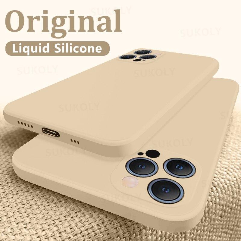 Soft Liquid Silicone Case For iPhone 12 Pro Max X XS Max 7 8 Plus Luxury Phone Case For iPhone 11 12 Pro Max 12 Mini 7 8 6 6s