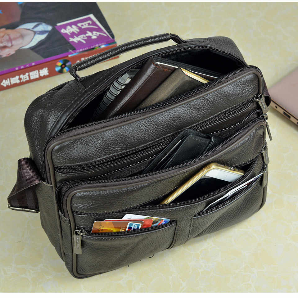 Coffee Men Genuine Leather Shoulder Bag Male Cowhide Leather Handbags Men's Large Zipper Messenger Bag Travel Tablet Bag Tote