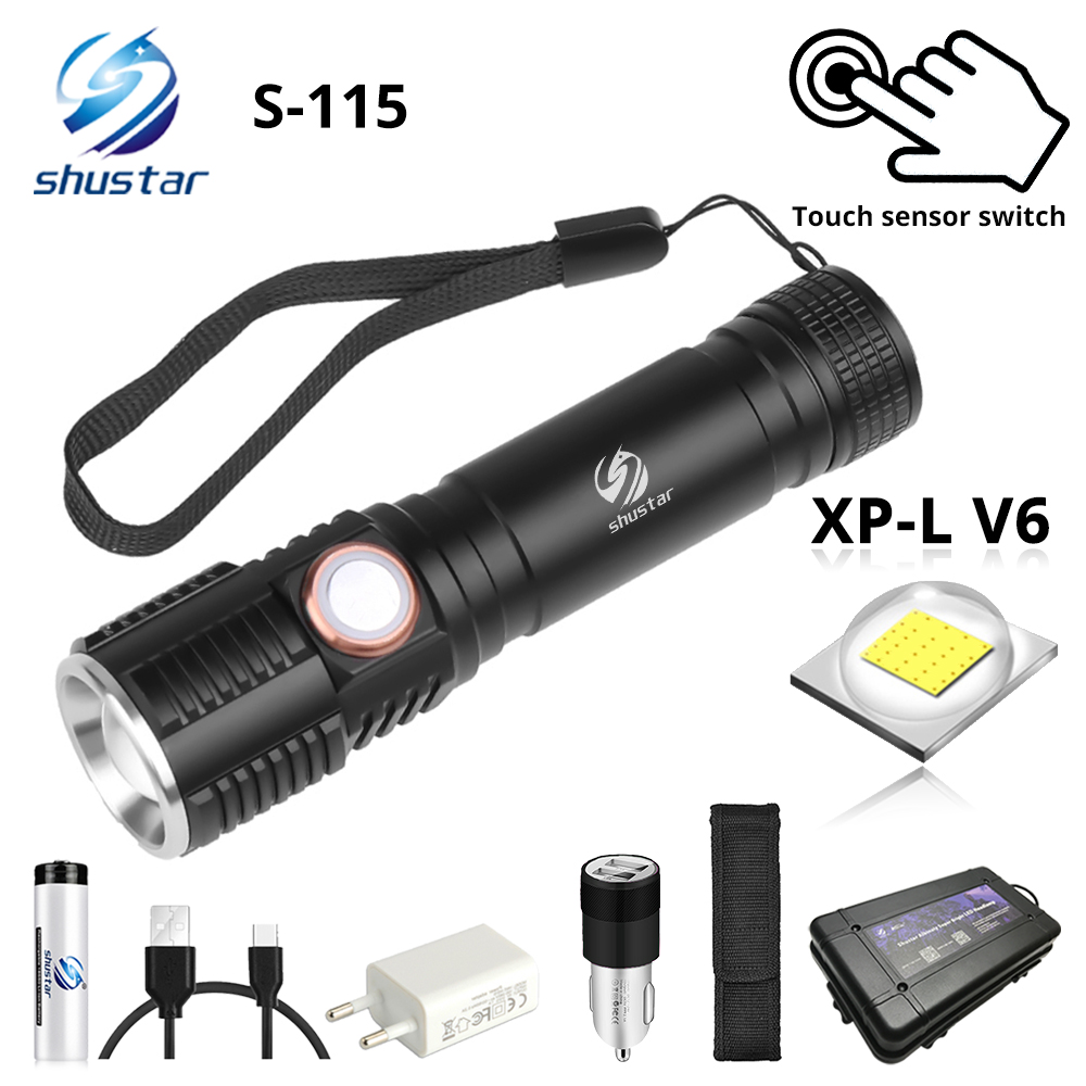 Super Bright XP-L V6 LED Flashlight With Touch Button Waterproof Torch 3 Lighting Modes Telescopic Zoom Camping Light S115