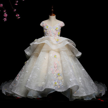 Kids Pageant Evening Gowns 2020 Lace Flower Gown Girl Dress Weddings Birthday Party Robe For Girls First Communion Dresses