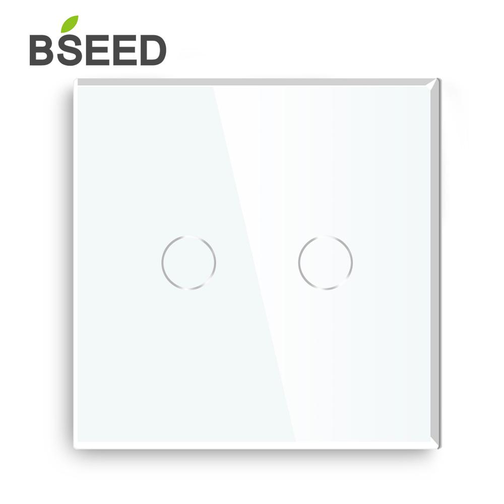 Bseed EU Standard Touch LED Dimmer 2 Gang 1 Way With Crystal Glass Panel Dimmer White Black Gloden Dimmer Switch