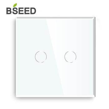Regulador de luz LED Bseed estándar de la UE 2 Gang 1 Way con el regulador del Panel de cristal blanco negro Gloden