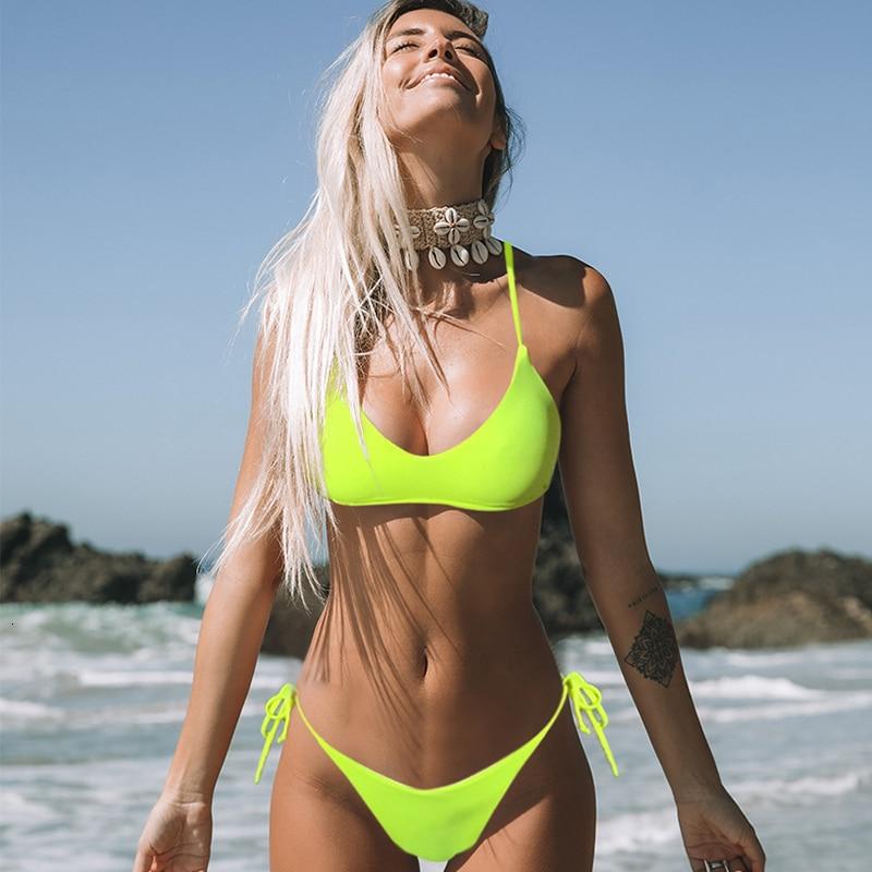 Solid Push Up Swimwear Women 2019 Bikini Set Bandage Swimsuit Halter Top Beach Swimsuits Sexy Low Waist Bathing Suit Biquinis