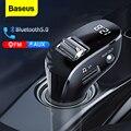 Baseus автомобильный fm-передатчик Bluetooth 5,0 AUX Handsfree беспроводной автомобильный комплект двойной USB Автомобильное зарядное устройство авто ради...