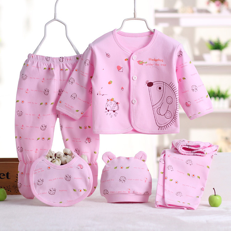 Infant 5 Pieces Childrenswear CHILDREN'S Clothes Infant Brushed Newborns Underwear Knicker Set Pure Cotton 0-3 Month