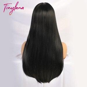 Image 5 - זעיר לנה שחור ארוך ישר פאה עם פוני שיער סינטטי פאות לנשים שחורות חום עמיד סיבי Cosplay תלבושות פאה