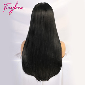Image 5 - TINY LANA Black Long Straight Wig with Bangs Hair synthetic wigs for black women Heat Resistant Fiber Cosplay Costume Wig