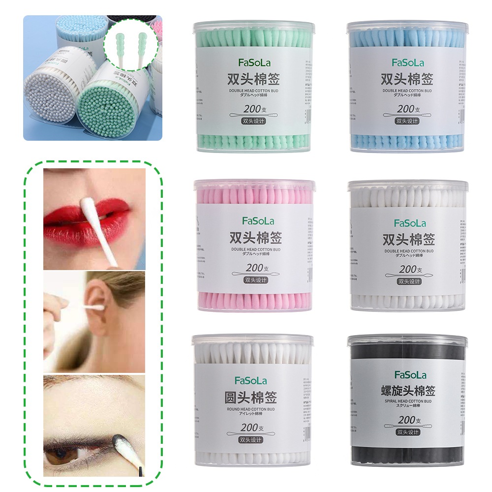 New 200pcs/Box Double-headed Colorful Cotton Buds Swabs Soft Cotton Bud Nose Ears Cleaning Makeup Tools Disposable