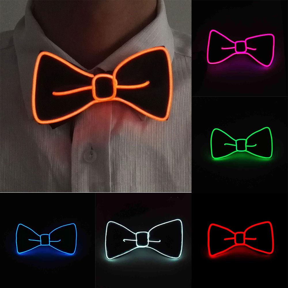 Luminous Necktie LED Party Jewelry Evening Show Bow Tie Flashing Polyester Silk Gift Dance Gentleman Bowtie Men Christmas