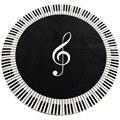 Новый Ковер Музыкальный символ фортепианный ключ черный белый круглый ковер нескользящий ковер домашний коврик для спальни украшение пола