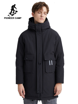 Pioneer Camp 2019 New Long Thick Parks For Men Winter Hooded Coats Solid Color Causal Windproof Pockets Men Clothes AMF903501