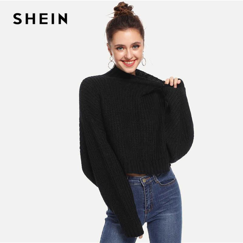 SHEIN Preto Sólido de Alta Pescoço Colheita Quadradão Outono Camisola Mulheres Encabeça 2019 Inverno Streetwear Manga Comprida Casual Blusas Das Senhoras