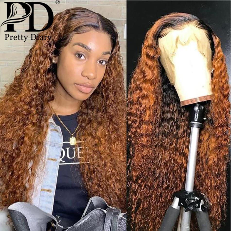 Омбре, имбирь, цвет, вода, волна, кудрявый парик, Remy, кружево спереди, человеческие волосы, парики, хайлайт, глубокая волна, коричневый, 1B/30, фронтальный парик, черный, для женщин