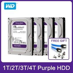 Western Digital WD фиолетовый HDD ТБ 2 ТБ 3 ТБ 4 ТБ SATA 6,0 ГБ/сек. 3,5 жесткий диск для камеры видеонаблюдения AHD DVR IP NVR