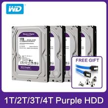 "Western Digital WD 보라색 HDD 1 테라바이트 2 테라바이트 3 테라바이트 4 테라바이트 SATA 6.0 기가바이트/초 3.5 ""cctv 카메라 용 하드 드라이브 디스크 AHD DVR IP NVR"