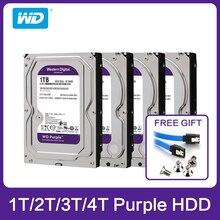 """Western Digital WD disco duro morado HDD 1TB, 2TB, 3TB, 4TB, SATA, 6,0 Gb/s, 3,5 """", para cámara cctv, AHD, DVR, IP, NVR"""