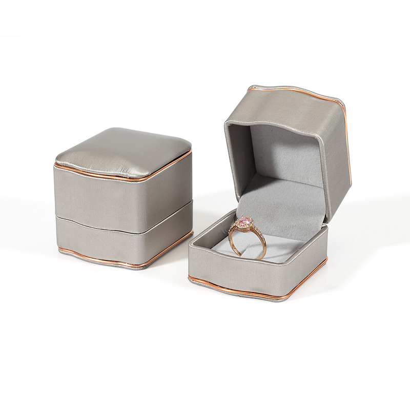PU Leather Ring Gift Package Box Wedding Earring Pendant Display Jewelry Organizer Storage Case