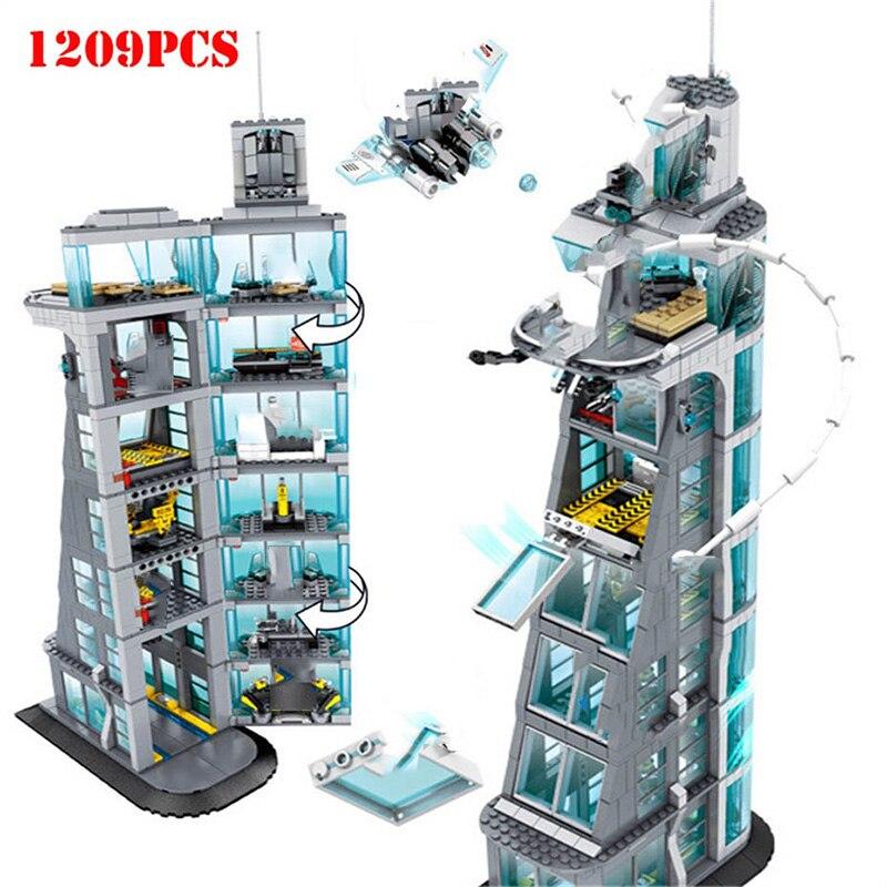 マーベルのスーパーヒーローアイアンマン復讐タワー 7th 床ビルディングブロック互換 Legoed テクニック DIY レンガアベンジャーズおもちゃ子供のため  グループ上の おもちゃ & ホビー からの ブロック の中 1